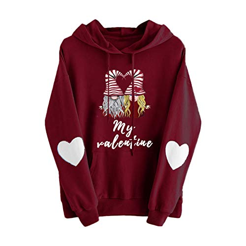 Women's Stitching Color Hooded Sweater Drawstring Tops Cute Printed Blouses for Women Elegant Long Sleeve Shirts Fashion Casual Soft Warm Plus Size Valentine's Day Gift for Her(3XL,#14Red)