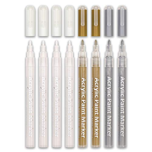 White Paint Pen, 0.8mm Acrylic 4 White, 2 Gold, 2 Silver Permanent Marker Pens for Wood Rock Plastic Leather Glass Stone Metal Canvas Ceramic Marker Extra Very Fine Point Opaque Ink, 8 Pack