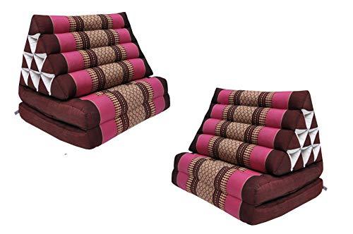 Wilai GmbH Set di 2 Cuscini Triangolo Thai con Piccolo Materasso 2 Pieghe, Fabbricato in Thailandia, bordò-Rosa (2x81402)