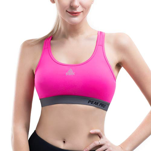 PEAK Sports Bras for Women, High Impact Workout Bra, Seamless Padded Moisture Wicking Bra for Gym, Running, Yoga Rose