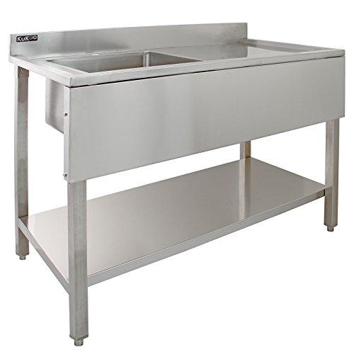KUKOO Fregadero de Acero Inoxidable Industrial de Cocina 1 Cuba Muebles de...