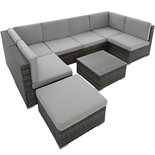 TecTake 800762 XXL Poly Rattan Sitzgruppe Venedig, 6 Sitze 1 Tisch 1 Hocker mit Edelstahlschrauben, extra Dicke Sitzkissen - Diverse Farben - (Grau | Nr. 402698)