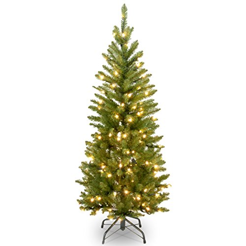 National Tree Company Pre-lit Artificial Christmas Tree | Includes Pre-strung White Lights and Stand | Kingswood Fir Pencil - 4.5 ft