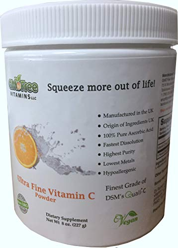GMO Free Vitamins - Ultra Fine Vitamin C Powder, Made in UK, UK Ingredients - Highest Grade of Quali-C L-Ascorbic Acid for Maximum Bioavailability - Vegan (8 oz.)