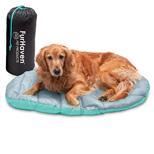 Furhaven Pet Bed for Dogs and Cats - Trail Pup Outdoor Camping Dog Bed Pillow Mat Cushion with Stuff Sack, Washable, Aqua and Granite Gray, Large
