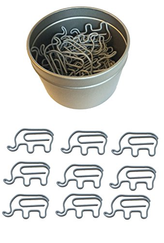 Butler in the Home Animal Elephant Shaped Paper Clips 50 Count in Silver Tin and Silver Gift Box Great for Paper Clip Collectors or Zoo Animal Lovers (Coated Gray)
