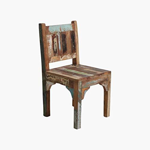 Kinderstoel kindermeubel vintage oud hout in shabby-chic van massief hout - kleurrijk