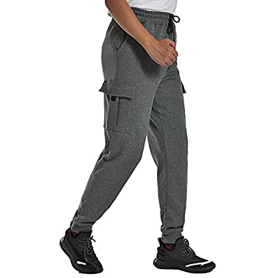 Ideast Men's Fleece Cargo Sweatpants Gym Runnin...