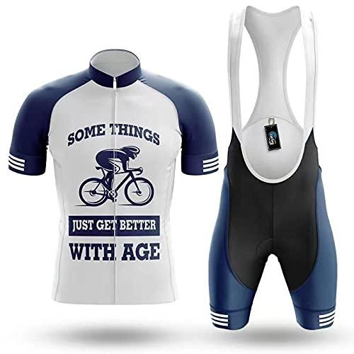 WYNR Traje de Ciclismo de Las Mujeres para Hombre Camiseta de Ciclismo de Manga Corta y Baberos Conjunto con Almohadilla de Gel para Ciclismo de Montar al Aire Libre(02,S)