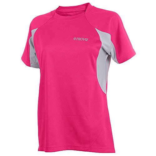Proviz pour Femme à Manches Courtes de Cyclisme/Course à Pied T-Shirt, Femme, Rose