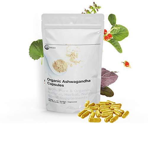 Niikam Organic Ashwagandha Root Extract KSM 66 Herbal Ayurveda Supplement 60 Vegan Ashwanghanda Capsules of 500mg Each