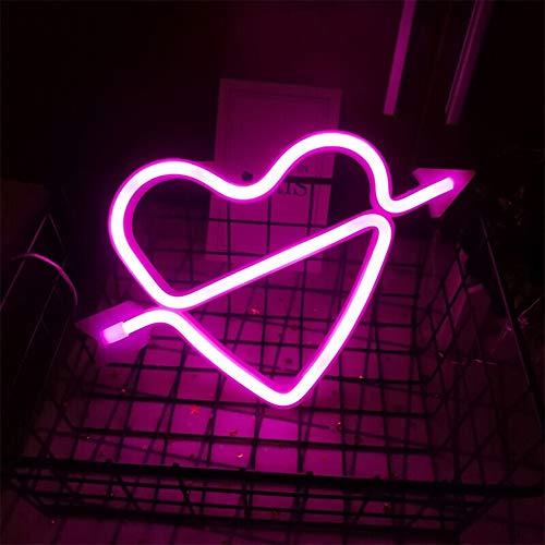 Forma de arco de Cupido Rosa luz de neón del corazón romántico LED Lámparas Noche Amor marquesina Carta sesión de batería y USB Operado muestras de neón para el dormitorio boda Living Room Oficina de