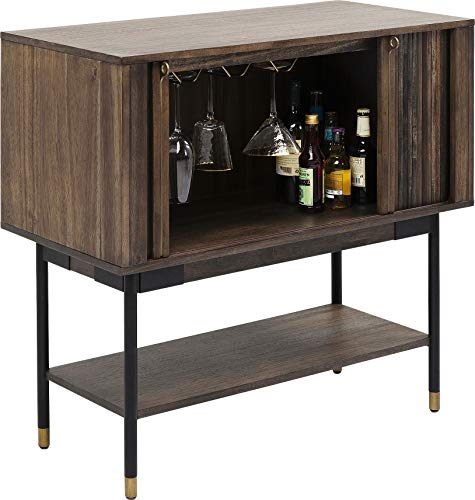 Kare Design Weinschrank West Coast, Weinschrank in dunkelbrauner Holzoptik, MDF Akazie Weinschrank mit 4 Füßen aus Metall, 2 Schiebetüren und Ablagefach, (H/B/T) 90,7x90x45cm