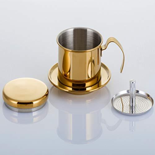 Cafetera, cafetera vietnamita, vajilla doméstica de acero inoxidable, cafetera, goteo, filtro de café, plata, oro, regalo preferido-gold