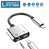 Headphone Adapter for iPhone 11 pro /7/7 Plus/8/X/10/11/XR/XS/XS Max/ 2 in1 3.5mm Headphone Jack Car Charger AUX Converter Splitter Charge & Audio Cables Dongle Earphone Adaptor Support iOS System