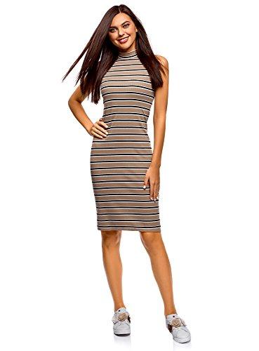 oodji Ultra Damen Enges Kleid mit Stehkragen, Beige, DE 40 / EU 42 / L