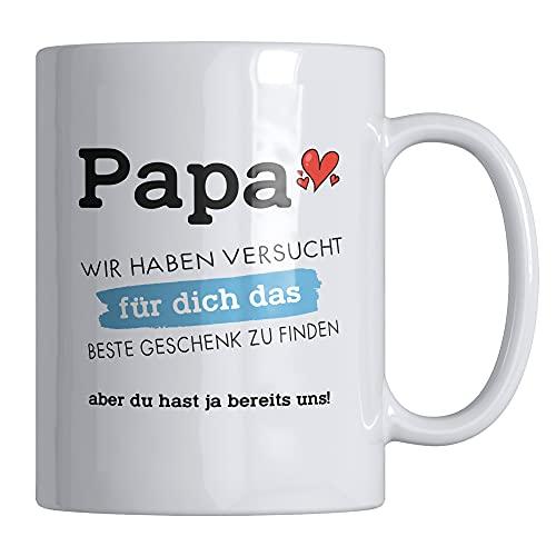 Kaffeetasse mit Spruch 'Papa wir haben versucht für dich das beste Geschenk zu finden.uns' lustige Tasse - 330 ml - Spülmaschinen- und Mikrowellen geeignet - stylische Spruchtasse von Your Gravur7cy