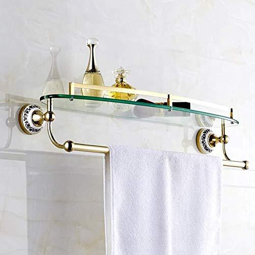 Yxsd Estante de cristal de baño de una sola capa con barra de toallero, estante de almacenamiento de pared, color cian flor de porcelana dorado estante de baño de vidrio