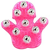 Facibom Shaped Massage Glove Body Massager with 9 360-Degree-Roller Metal Roller Ball Beauty Body Care (Pink)