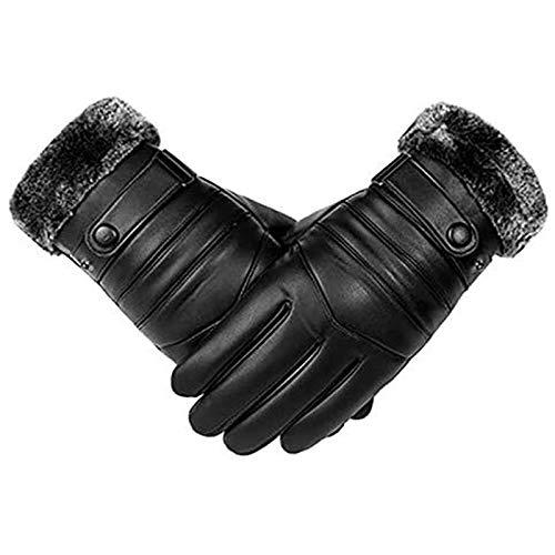 Handschoenen herfst en winter leren herenhandschoenen, touchscreen, winddicht en warm, autohandschoenen, heren herfstleren handschoenen, zwart