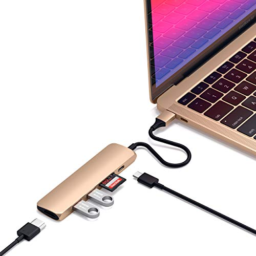 Satechi Slim Aluminum Type-C Multi-Port Adapter V2 with USB-C PD, 4K HDMI (60Hz), Micro/SD Card Readers, USB 3.0 - Compatible with 2020 MacBook Pro, 2020 iPad Pro (Gold)