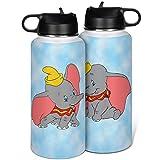 Cyliyuanye Botella de agua deportiva con diseño de Dumbo con tapa de paja, con boca ancha, térmica, blanca, 1000 ml