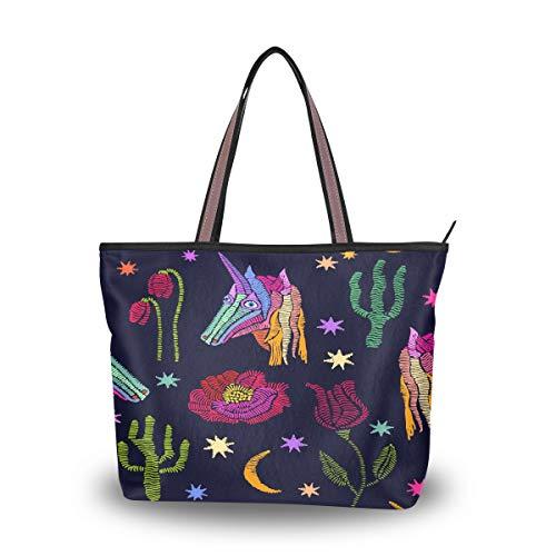 Emoya Damen Schulter-Handtasche bestickt Einhörner Fantasy Sterne Blumen Pflanzen Top Griff Tasche Tote Bag, Mehrfarbig - multi - Größe: Medium