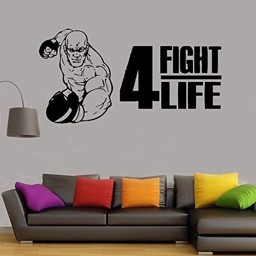 zqyjhkou Boxer Never Give up Wandtattoo Wasserdicht Abnehmbare Vinyl-Aufkleber Boxhandschuhe Sport Kampf Wettbewerb Raumdekoration 132x69cm