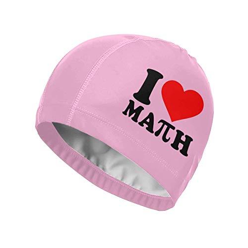 Houlipeng I Love Math Swim Cap Gorro de natación de PU para Cabello Largo o Corto