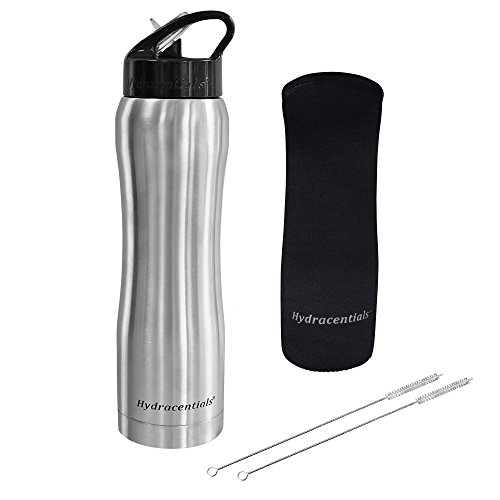 Hydracentials Stainless Steel Vacuum Insulated Water Bottle with Straw (SS, 25 oz)