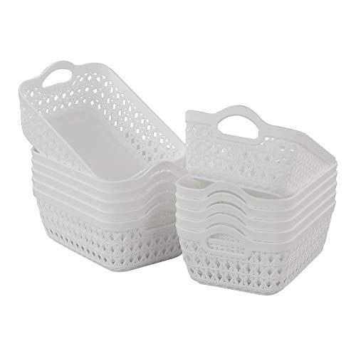 Callyne 12-Pack Mini Plastic Storage Basket Tray for Fruit, Vegetables, Bread, Food Serving, White