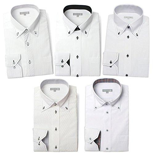 [ドレスコード101] ワイシャツ 長袖 5枚セット Yシャツ 形態安定 メンズ ドレスシャツ デザインシャツ 豊富なサイズ展開でぴったりがみつかる ビジネスシーンでもおしゃれしよう SHIRT-5SET 11 ホワイトボタンダウン 首回り45cm裄丈88cm