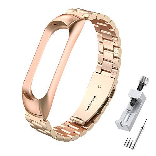 Simpeak Correa Compatible con Xiaomi Mi Band 5 / 6 (5.5-8.1 Pulgadas), Pulseras de Acero Inoxidable Wristband Repuesto Bandas Compatible con Mi Band 5 Fitness con Cerradura-Oro