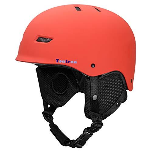 Tontron Ski Snowboard Helm mit Kopfhörer Tasche (Rot, M)