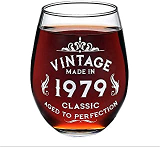 1979 40th Birthday Wine Glass for Women and Men, Birtyday Gift, Any Anniversary Gift with 530 ml, Aged to Perfection Wine Glass [1 Pack]