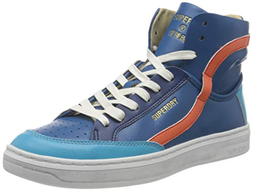 Superdry Herren Basket Lux Trainer Sneaker, Blue/Orange, 41 EU