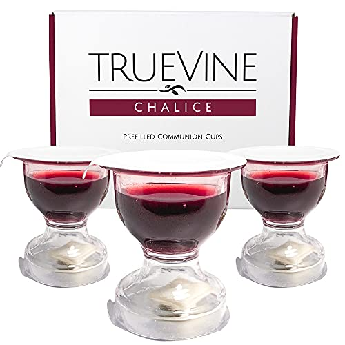 TrueVine Chalice Prefilled Communion Cups with Wine and Bread Set - Prefilled Communion Cups With Bread & Wine - Fresh, Easy-Open Communion for Your Service (100 Chalices)