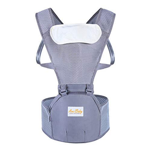 Jerrybaby Popular Baby Backpack 2-in-1 Baby Carrier, Kangaroos Backpack Hipseat Carrier (Gray mesh)