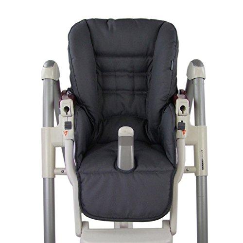 BambiniWelt Cojín de asiento, funda de repuesto para trona Peg Perego Prima Pappa Diner, 9colores gris oscuro