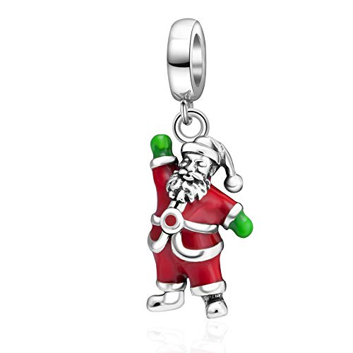 SOUKISS SoulBeads Christmas Reindeer Charms 925 Sterling Silver Tree,Santa Claus,Stocking Decorations Charms Fits Bracelet (Santa Claus)