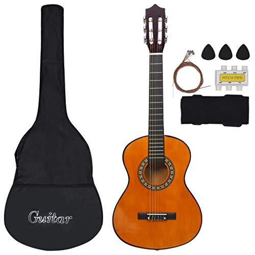 Goliraya Musik Alley Klassische akustische Gitarre Kinder Gitarre & Junior-Gitarre,Dunkle Holzfarbe/Helles Holz, 34/39 Zoll