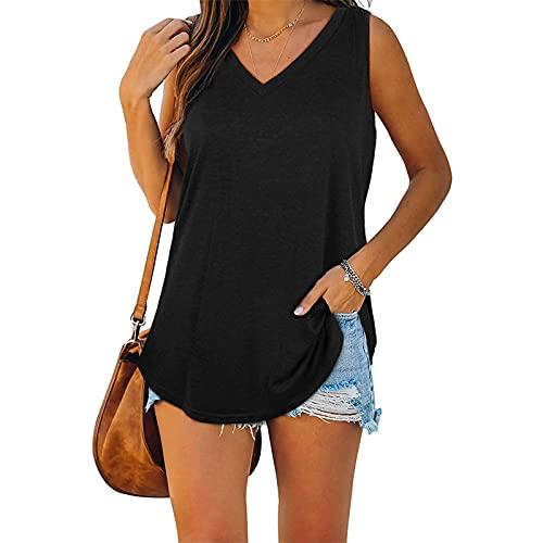 zhaojiexiaodian Camiseta deportiva sin mangas para mujer, sin mangas, para correr, yoga, gimnasio, fitness Negro L