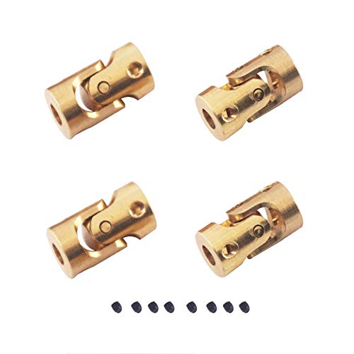 4Pack ShareGoo 3mm-3mm Micro Brass Universal Joint Motor Shaft Coupler Connector for 1/24 1/18 RC Car Boat DIY Airplane Gimbal