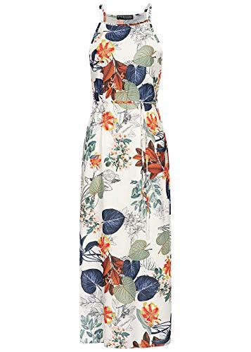 Styleboom Fashion® Damen Kleid Maxi Dress Tropical Print Sommerkleid Strandkleid Weiss grün, Gr:L
