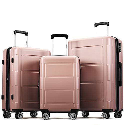 jeerbly Juego de maletas de mano (3 piezas) con candado TSA, asa telescópica y 4 ruedas, color champán, M/L/XL)