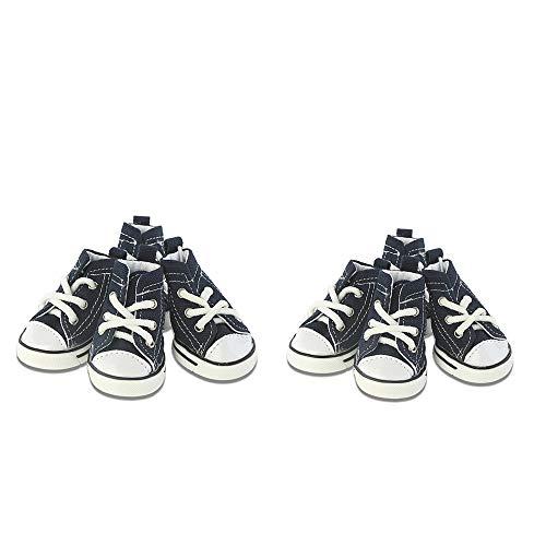 Hondensportschoenen, sneakers, sneakers, sneakers, sneakers, antislip buiten, veters in blauw of roze, zool van rubber + stof binnen van zacht katoen, 4 stuks, 5, e1(Two Pair)