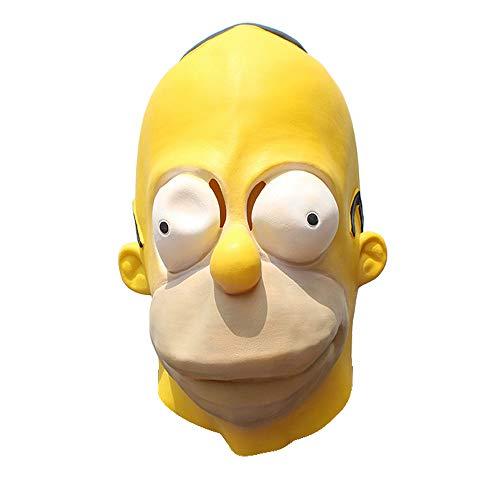 D & M Simpson Maske Halloween-Streich-Cartoon-Maske Gelb Latex Tierkopfschmuck Vollvisierhelm Männer und Frauen Geisterfest Maskerade-Partei Cosplay Maske - Universalgröße