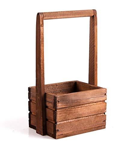 Tintours Caisse en bois avec poignée pour herbes/fleurs pour le jardin/jardin/jardinière Marron 18 x 13 x 11/31 cm