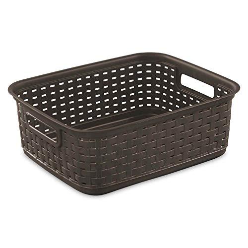 Sterilite Decorative Wicker-Style Weave Basket, Espresso | 12726P06 (12 Pack)