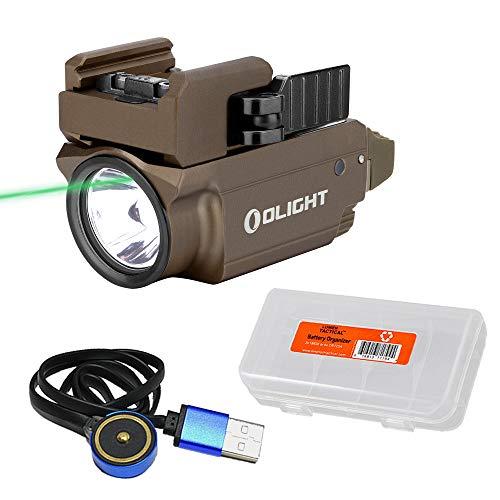 Olight Baldr Mini Tan 600 Lumen Rail Mount Tactical Flashlight Green Laser Sight Combo with LumenTac Organizer